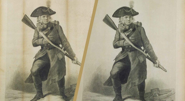 "PHOTO OF A SOLDIER MAN READY WITH HIS GUN, STEEL ENGRAVING, 1876, 20"" x 16"""